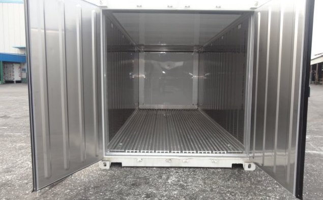 refrigerated shipping container interior, refrigerated storage container interior